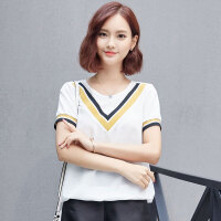 2017新款夏装韩版撞色雪纺衫女短袖大码宽松显瘦时尚T恤小衫上衣