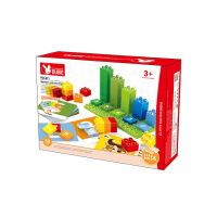 万格 儿童早教益智玩具大块大颗粒塑料拼装拼插散装套装积木411
