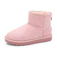 骆驼牌女鞋冬季加绒加厚保暖雪地靴女短筒平底防滑学生圆头棉靴韩版百搭短靴