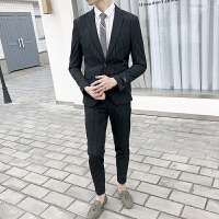 西服套装男士青年修身韩版条纹两件套西装男休闲帅气新郎结婚礼服