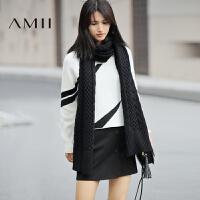 AMII[极简主义]冬女新品纯色毛线麻花针织保暖长围巾11693930