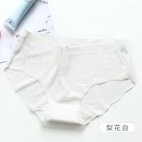 一片式冰丝透明内裤女中腰女士三角裤女生裆夏薄款 白色 梨花白