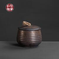 粗陶茶叶罐陶瓷密封罐中号存茶罐陶瓷复古家用装茶叶的容器存放罐