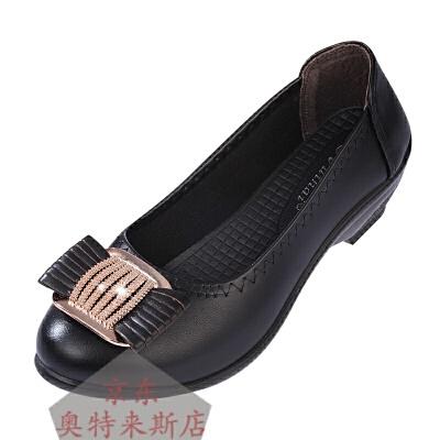 春秋新款中老年女鞋奶奶鞋软底休闲单鞋低跟妈妈鞋坡跟女皮鞋中年妈妈鞋一脚蹬懒人鞋套脚皮鞋潮款