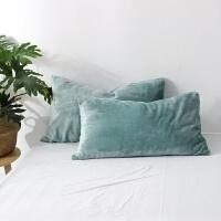 丝绒质感加厚法兰绒毛枕套一对装枕头套单人枕芯套48x74 50*80