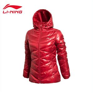 李宁中长款羽绒服女士运动生活系列保暖冬季连帽80%白鸭绒运动服AYMJ162