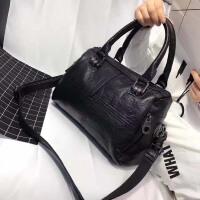 包包2018新款波士顿包手提包女欧美时尚皮拼接单肩包简约斜挎包 黑色