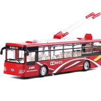 单节巴士电车1:48加长公交车合金车模玩具车回力汽车模型玩具