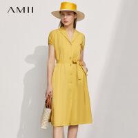 Amii极简法式配腰带西装式连衣裙2021年夏季新款衬衫裙子A字裙女