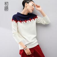 初语冬季新品  撞色拼贴布缝补提花长袖针织衫女8530423024