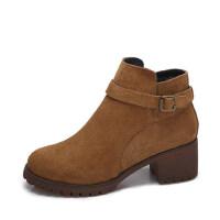 camel 骆驼女鞋 秋冬新款简约英伦风皮带扣饰 侧拉链时尚高跟短靴女