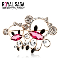 皇家莎莎RoyalSaSa韩版时尚饰品水钻猴子胸针卡通动物胸花生肖别针女西装配饰