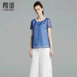颜域品牌女装2017夏季新款简约优雅圆领蓝色雪纺百搭短袖T恤上衣