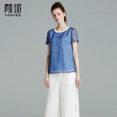 颜域品牌女装2017夏季新款简约优雅圆领蓝色雪纺百搭短袖T恤上衣雪纺面料 罗纹收口