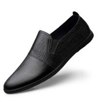 男鞋夏季新款商务休闲正装鞋男士皮鞋牛皮潮鞋软底豆豆鞋懒人套脚驾车透气鞋子 黑色