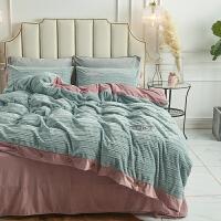 水晶绒床上四件套珊瑚绒冬季 兰绒双面绒 莱绒被套床单 床单款2.0m(6.6英尺)床 被套220*24