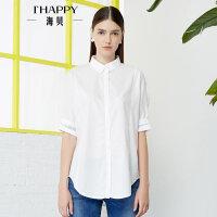 【2件5折】【4.24上新】海贝2017年夏季新款女装 纯棉简约翻领字母印花中袖中长款白衬衫