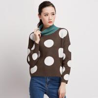 秋冬女装新款潮半高领针织衫套头加厚款宽松撞色波点毛衣短款