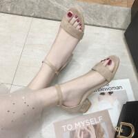 凉鞋女2019新款夏季百搭中跟粗跟仙女风低跟夏天配裙的晚晚高跟鞋 杏 色