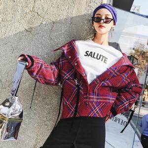 流行格子呢子大衣冬装女2018新款红色韩版bf原宿宽松短款毛呢外套
