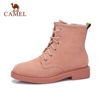 camel骆驼女鞋 秋冬新款平跟女靴子短靴女百搭英伦风加绒马丁靴