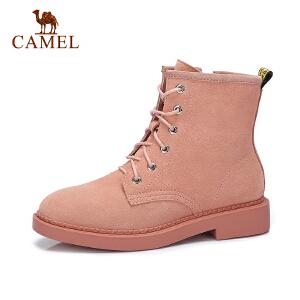 camel骆驼女鞋2017秋冬新款平跟女靴子短靴女百搭英伦风加绒马丁靴