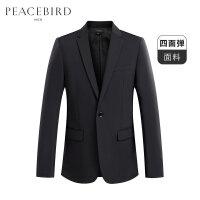 太平鸟男装 休闲西服男外套韩版青年便服单西秋季新款黑色西装男