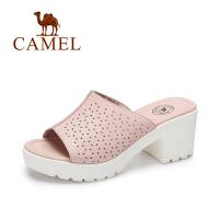 Camel/骆驼女鞋 夏季时尚新品镂空拖鞋女 甜美方跟高跟女拖鞋