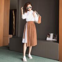 春季新款宽松修身中长款白色衬衫套装夏季半身裙2018新品 白色衬衫裙+棕色半身裙