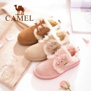 camel/骆驼女鞋 2017冬季新款 甜美舒适保暖低帮鞋磨砂皮系带平跟毛毛鞋