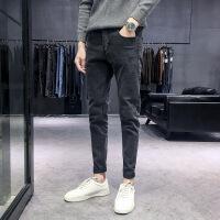 2018新款秋冬季牛仔裤男士加绒韩版潮流修身小脚宽松黑色直筒裤子