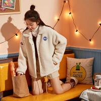 【2件3折价143.4元】唐狮2018冬季新款棉衣女宽松仿羊羔绒外套加绒加厚短款chic小棉袄