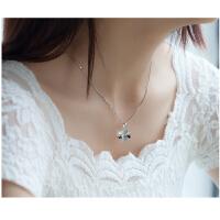 韩版时尚饰品圣诞礼物925银饰项坠女幸运草四叶草短款吊坠