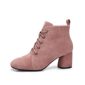 camel 骆驼女鞋  秋冬新款 拉链系带裸靴单靴保暖绒里粗跟短筒女靴子