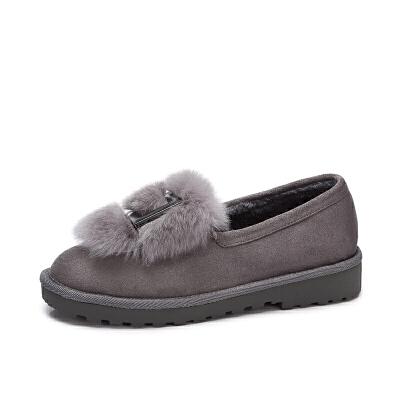camel/骆驼女鞋 秋冬新品 时尚个性兔毛金属方扣平跟舒适绒里单鞋女