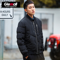 森马潮牌GLEMALL 羽绒服男冬季立领短款黑色保暖加厚外套