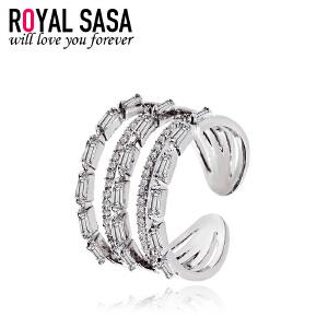 皇家莎莎多层开口戒指女日韩国版简约个性创意指环仿水晶微镶配饰