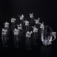 十二生肖兽首白酒杯酒具套装烈酒杯 玻璃酒杯创意实用礼品送长辈爸爸生日礼物