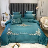 欧式床上四件套全棉纯棉刺绣冰丝高端婚庆床品红色冰丝结婚床单 墨绿色 卡琳娜