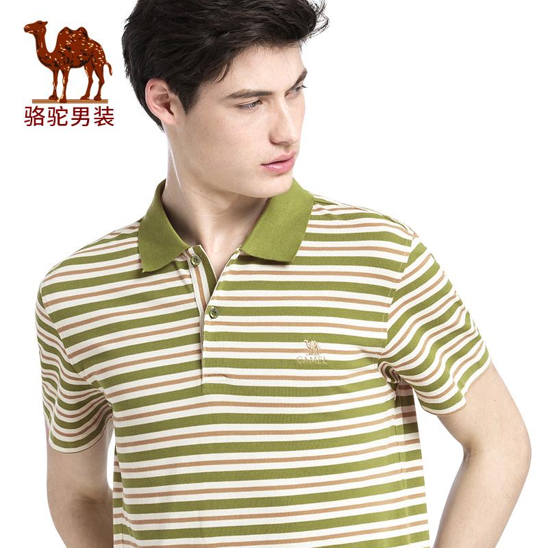 骆驼男装 夏季新款短袖绣标微弹商务休闲条纹POLO衫T恤衫男