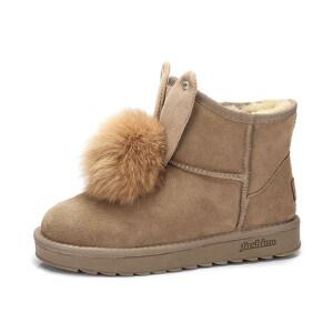 camel 骆驼女靴  秋冬新款 可爱兔耳朵纯色雪地靴毛绒球保暖短筒靴子
