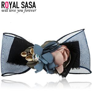皇家莎莎RoyalSaSa韩版布艺大花朵发夹弹簧夹手工横夹盘发马尾夹发卡子头饰品发饰