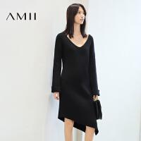【AMII 超级品牌日】AMII[极简主义]冬V领喇叭袖不规则开叉长袖连衣裙女11693444