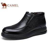 camel 骆驼冬季男士棉鞋加绒加厚保暖牛皮鞋商务短靴男冬鞋