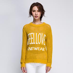 街头风黄色罩衫女宽松镂空2017新款全织时代个性潮牌字母针织衫秋