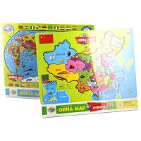 儿童木质拼图――中国地图+世界地图