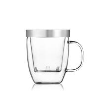 尚明水杯带盖办公男女个人茶杯耐热玻璃泡茶杯玻璃内胆可拆洗时尚透明玻璃杯 s011b