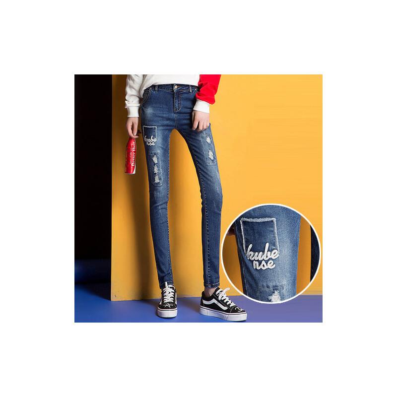 春夏秋季破洞薄款女式小脚牛仔裤2017时尚春款弹力裤子WM6121
