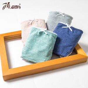 顶瓜瓜棉内裤女士四条装甜美蝴蝶结简约贴身纯色三角内裤