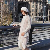 连衣裙女chic早秋装2018新款中长款马甲加外搭两件套装裙子初秋季 肤色 M